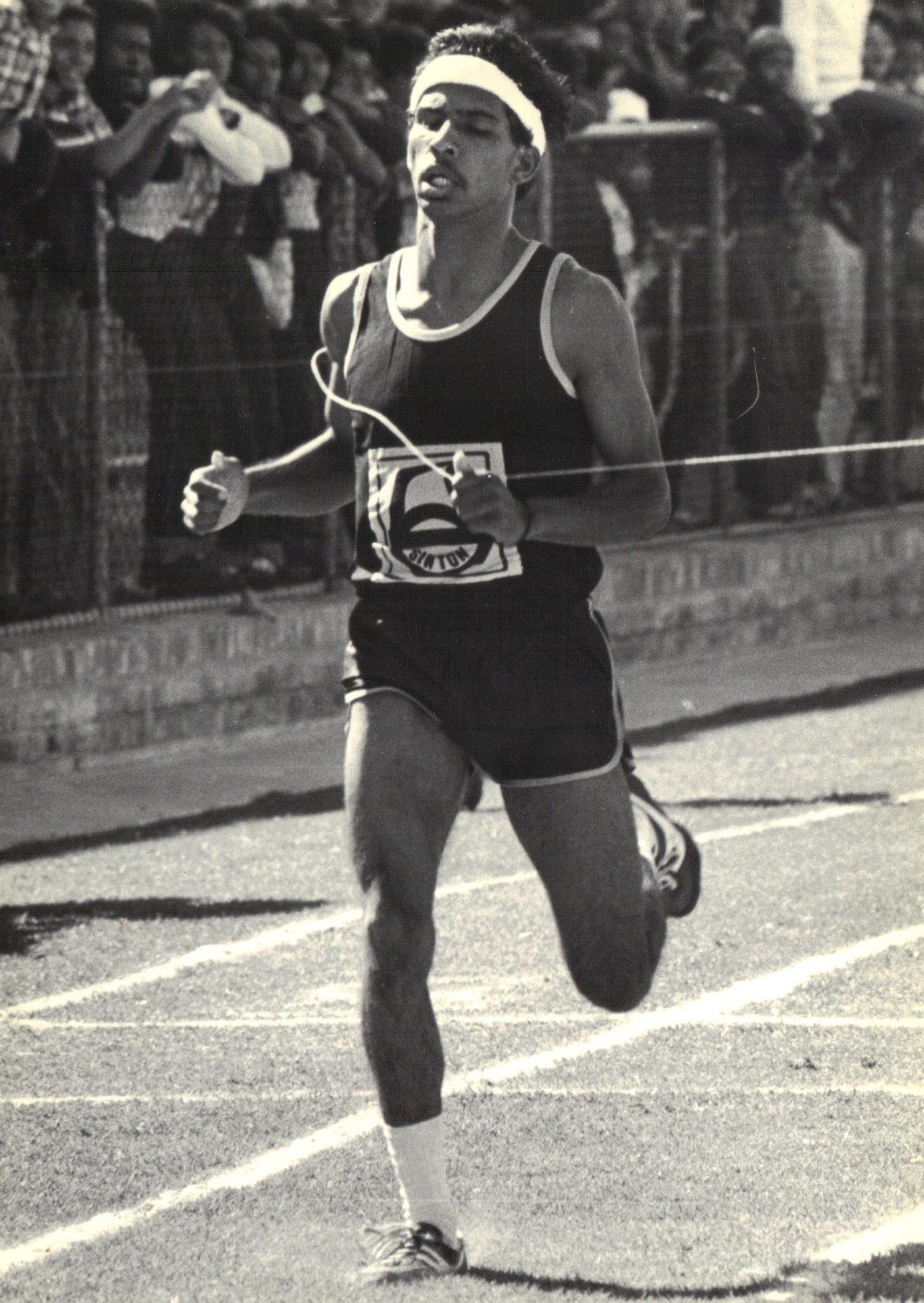 Emeraan Ishmail wins the boys under 17 400m at the Athlone Stadium.