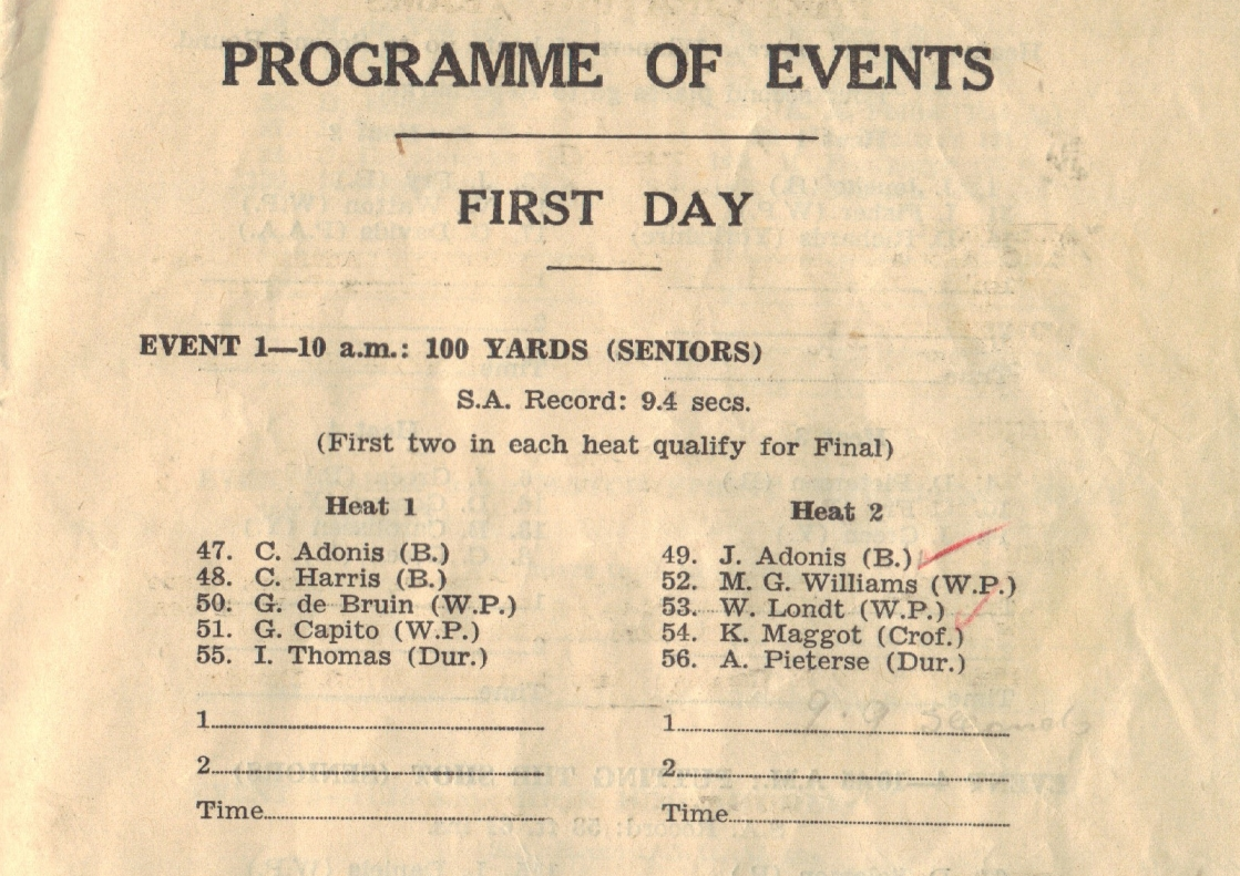 Willie Londt's name appears in the 1955 national programme. The meeting was held in Paarl.