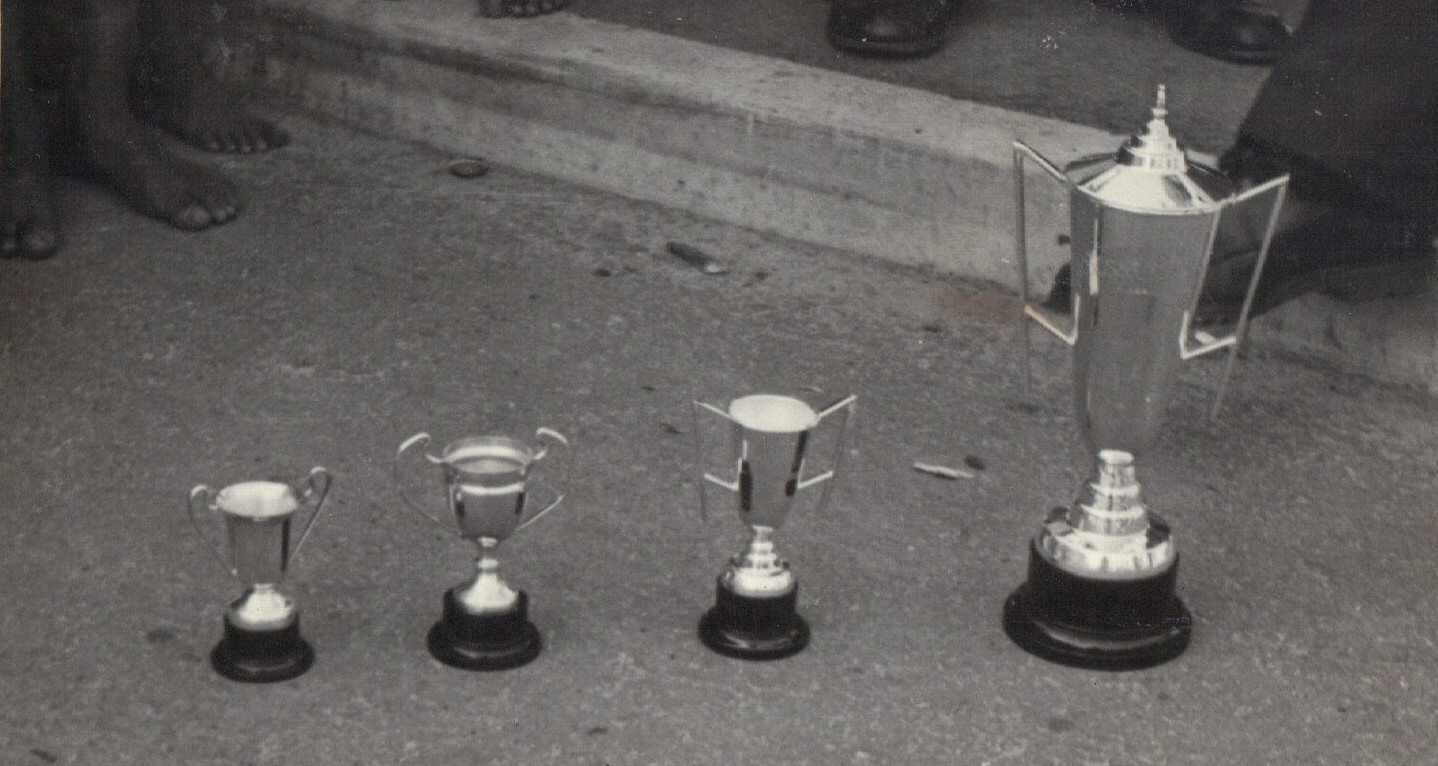 The Gossard trophies that were up for grabs in the Elsie's River six-mile road race.