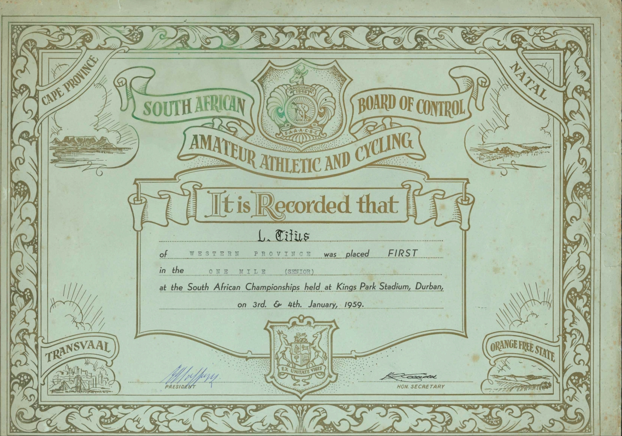The diploma records Leslie Titus' victory at the South African Amateur Athletic and Cycling Union championship at the Kings Park Stadium in Durban in 1959.