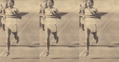 First seven-metre jumper Ian Rutgers was also a model of sprinting
