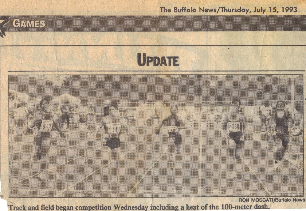 Sandra Petersen, second from right, in action in the women's 100m heats at the Student Games in Buffalo, New York, in 1993.